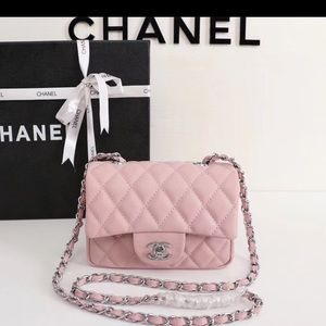 Chanel pink silver bag
